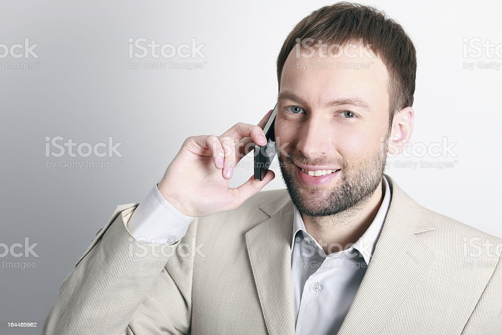 Receiving good news over the phone royalty-free stock photo