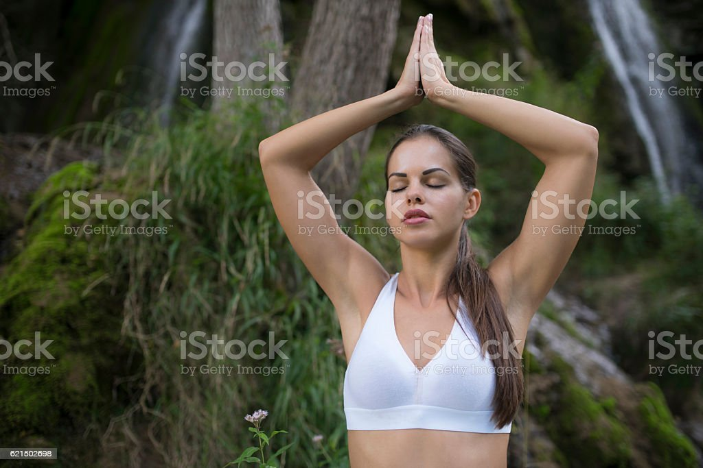 Receiving natural energy stock photo