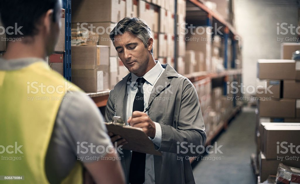 Receiving the first shipment of the day stock photo