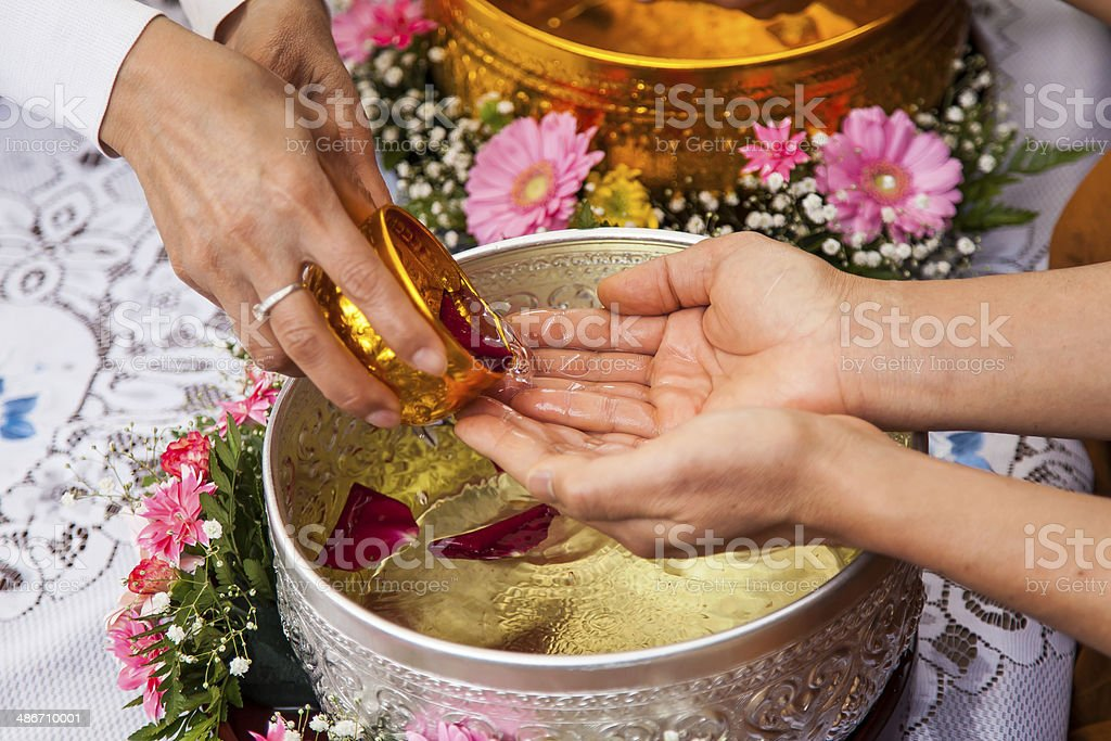 Receiving water by hand stock photo