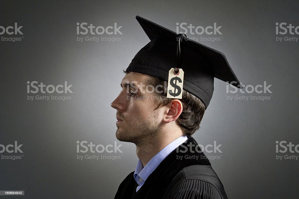 Recent college graduate with tuition debt, horizontal stock photo