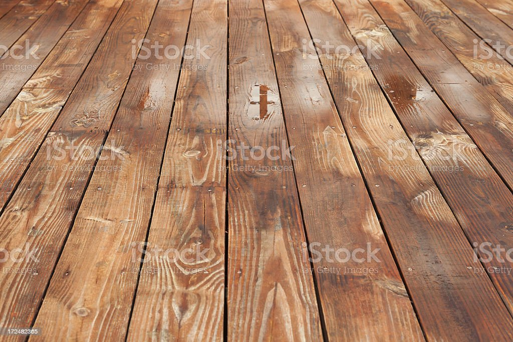 Recently Powerwashed Wood Deck Boards Texture stock photo