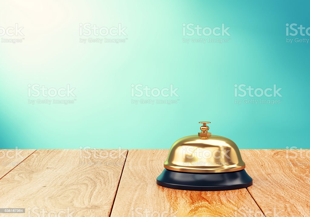 Recepion bell on desk stock photo