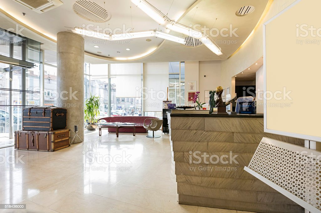 Reception area with reception desk stock photo