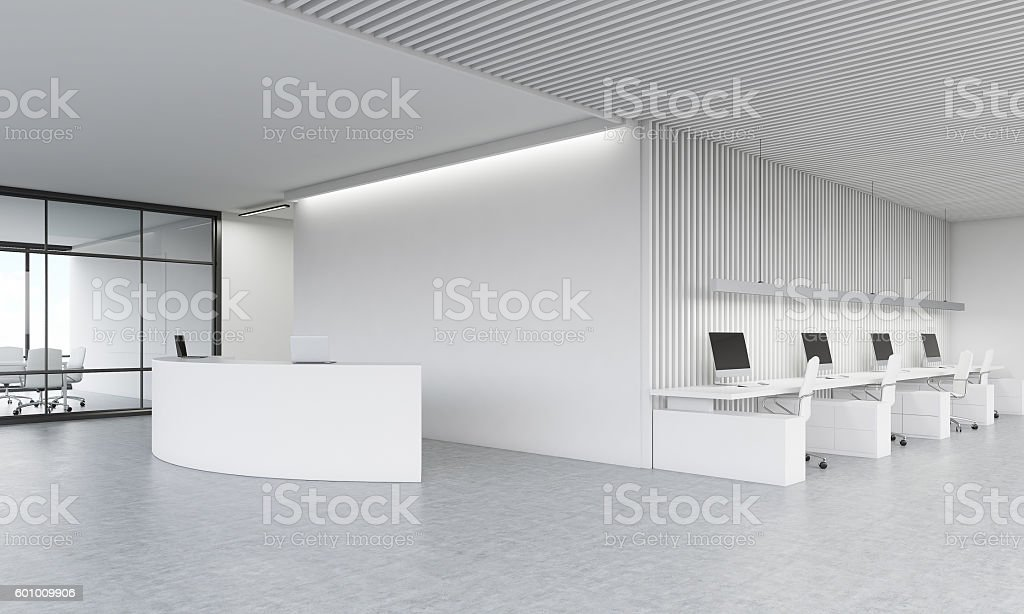 Reception counter in office stock photo