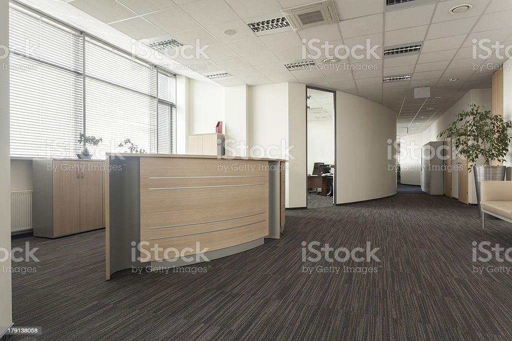 Reception counter stock photo