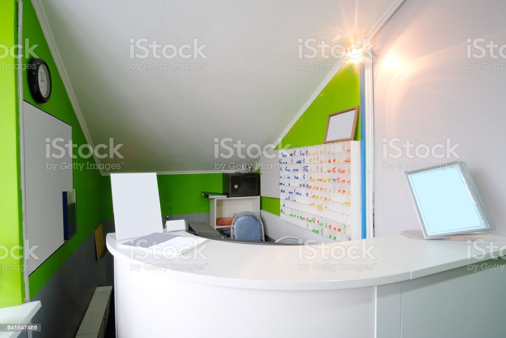 Reception desk in a fitness club stock photo