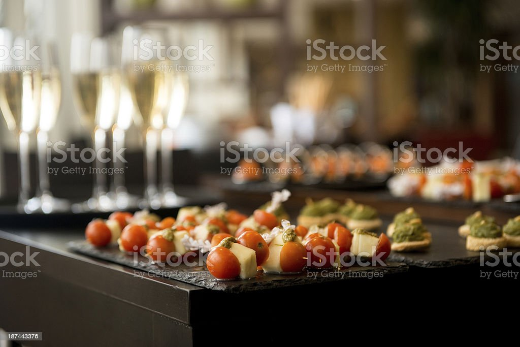 Reception drinks and canapes stock photo