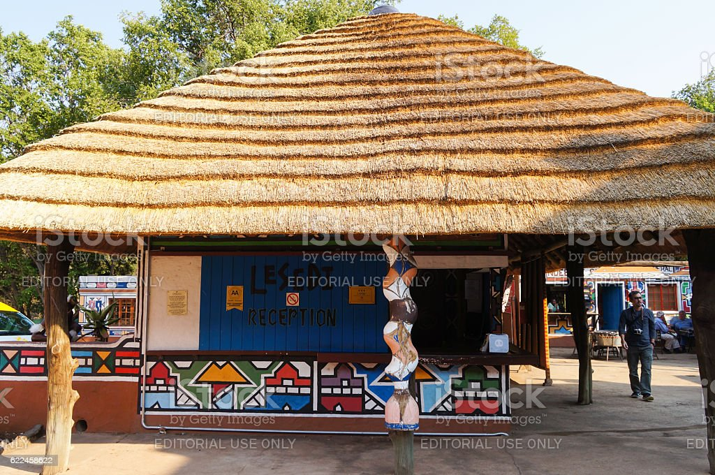 Reception of Lesedi Cultural Village  in South Africa. stock photo