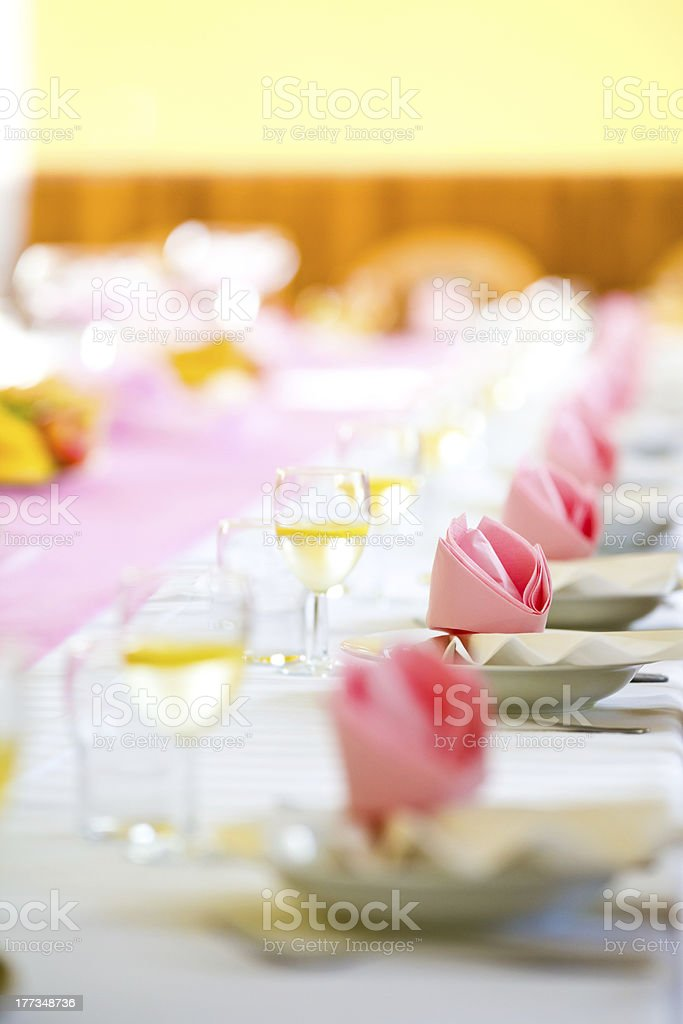 Reception or wedding table ready, farther focus royalty-free stock photo