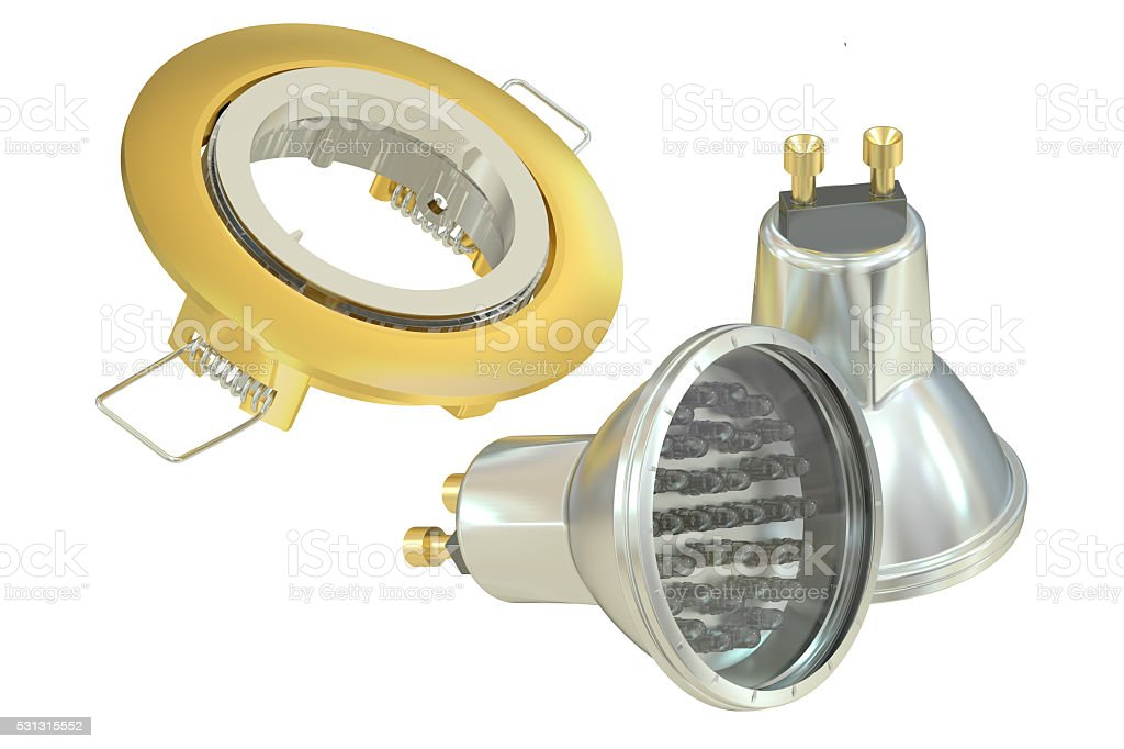recessed light with LED (Light Emitting Diode) lamps, 3D renderi stock photo