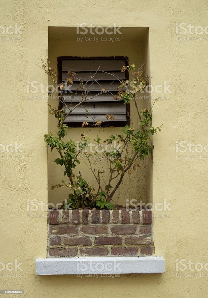 Recessed Window and a Brick Flower Box royalty-free stock photo