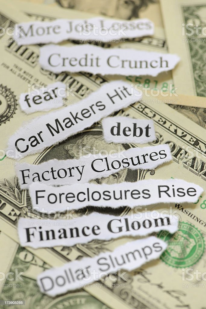 Recession and Credit Crunch Headline titles royalty-free stock photo
