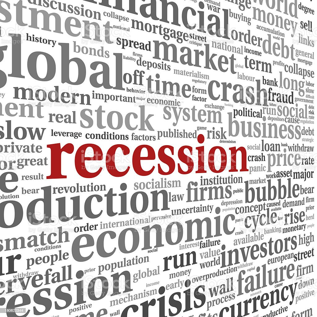 Recession concept on white royalty-free stock photo