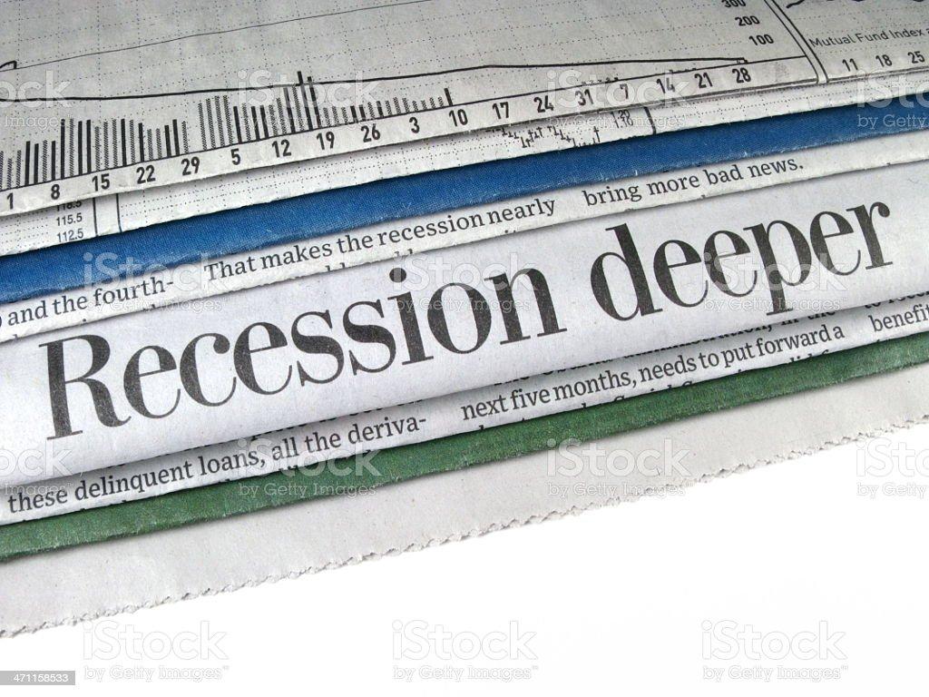Recession Deeper Headline stock photo