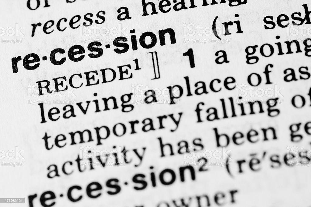 Recession Definition stock photo