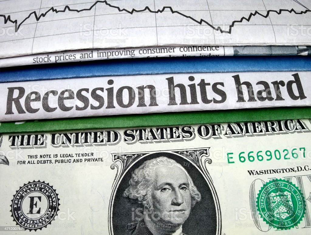 Recession Hits Hard Headline stock photo