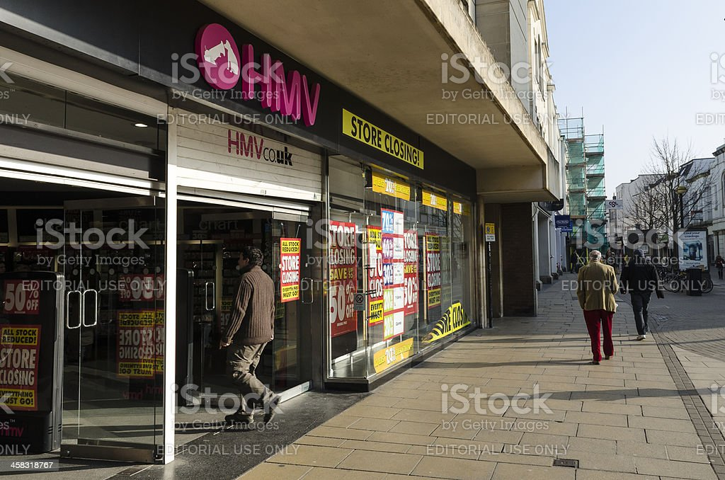 Recession, HMV store with closing down banners royalty-free stock photo