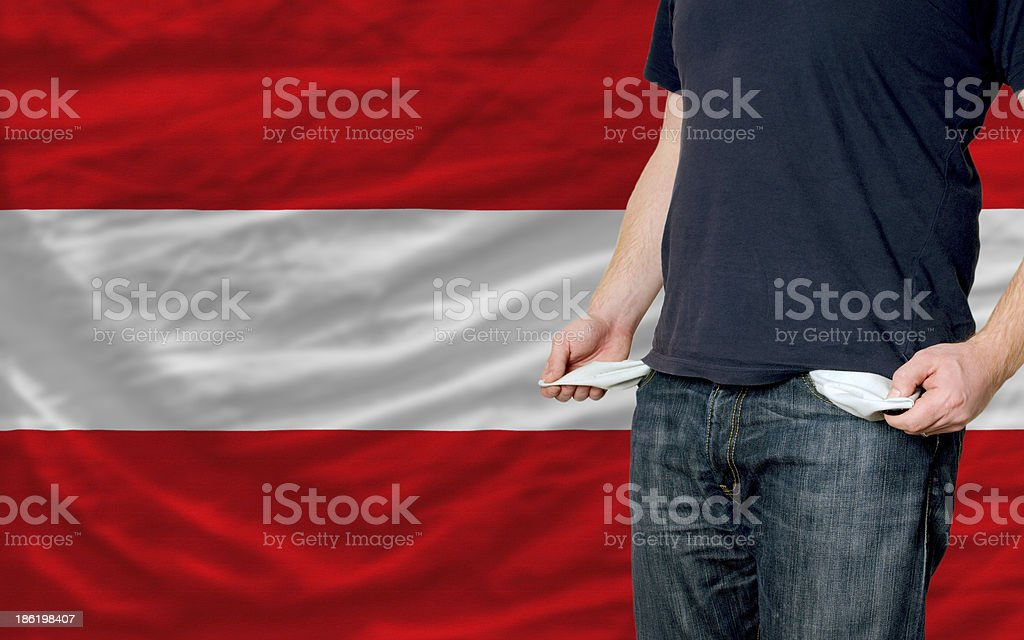 recession impact on young man and society in austria stock photo