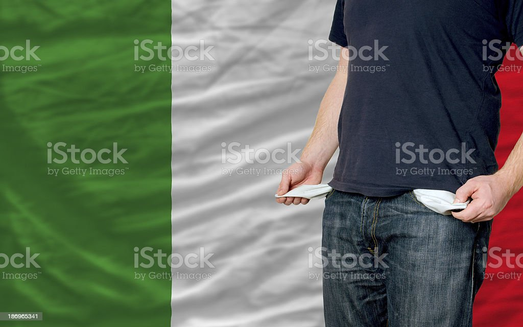 recession impact on young man and society in italy royalty-free stock photo