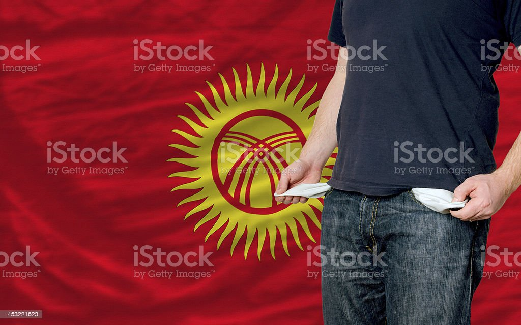 poor man showing empty pockets in front of kyrgyzstan flag
