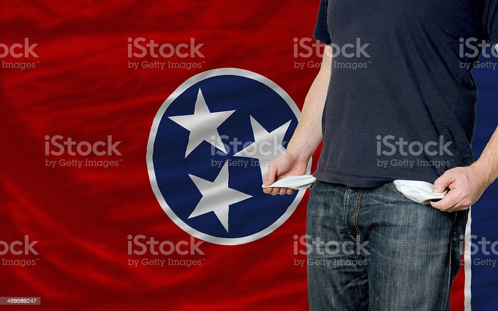 recession impact on young man and society in tennessee stock photo