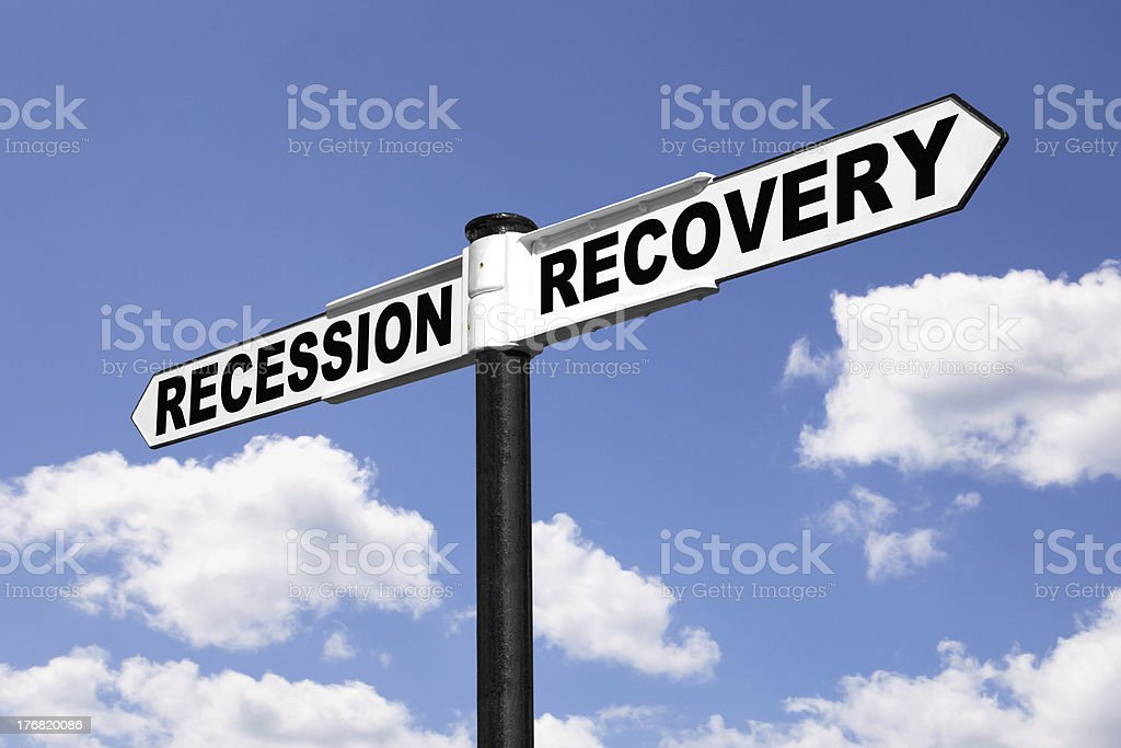 Recession Recovery signpost stock photo
