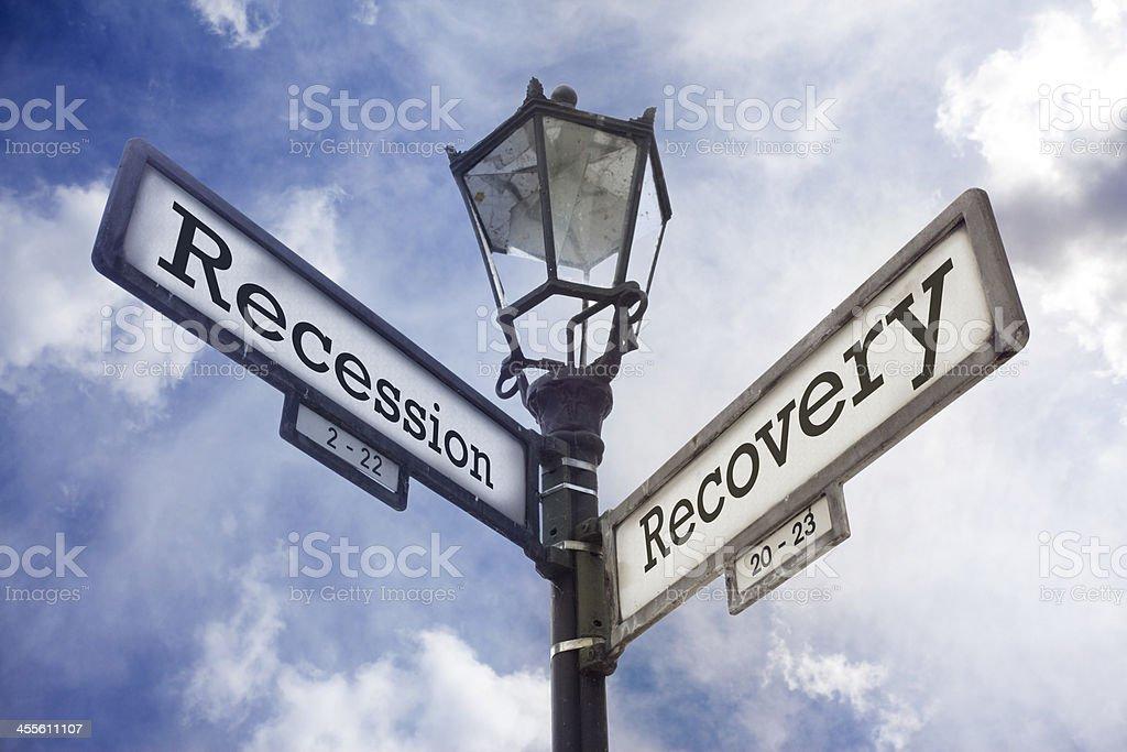 Recession vs. Recovery stock photo