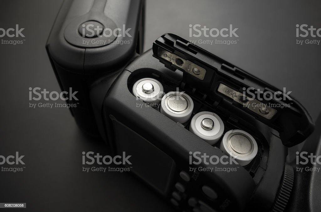 Rechargeable AA Batteries in Flash stock photo