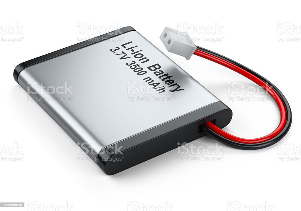 Rechargeable Li-ion battery with power plugs connector stock photo