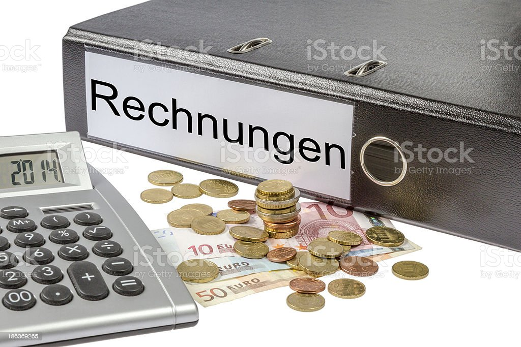 Rechnungen Binder Calculator and Currency royalty-free stock photo
