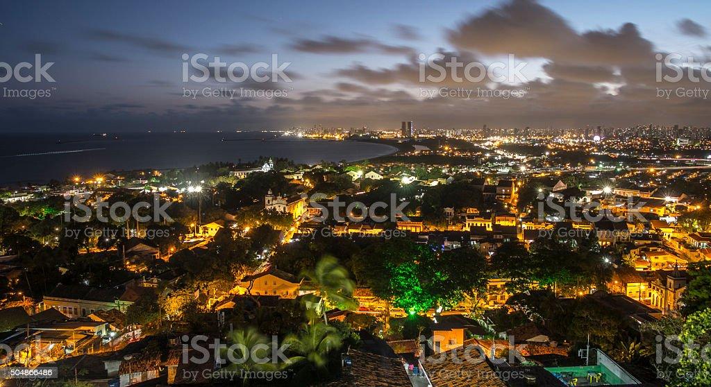 Recife at night stock photo