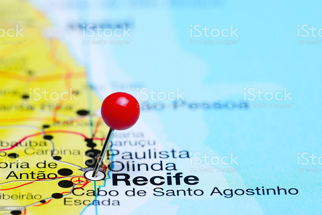 Recife pinned on a map of Brazil stock photo