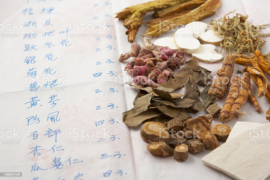 Recipe and ingredients for Chinese herbal medicine stock photo