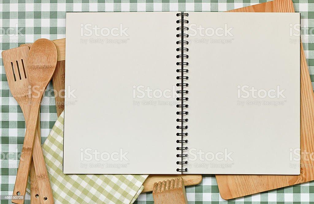 Recipe Backdrop Green Gingham stock photo