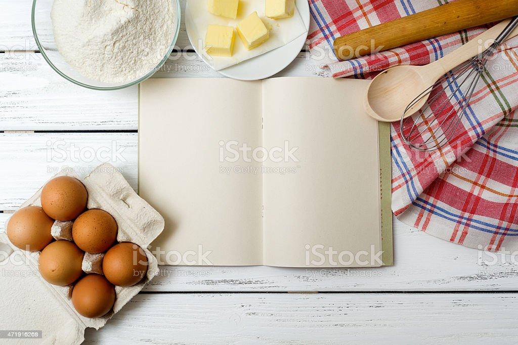 Recipe book background stock photo