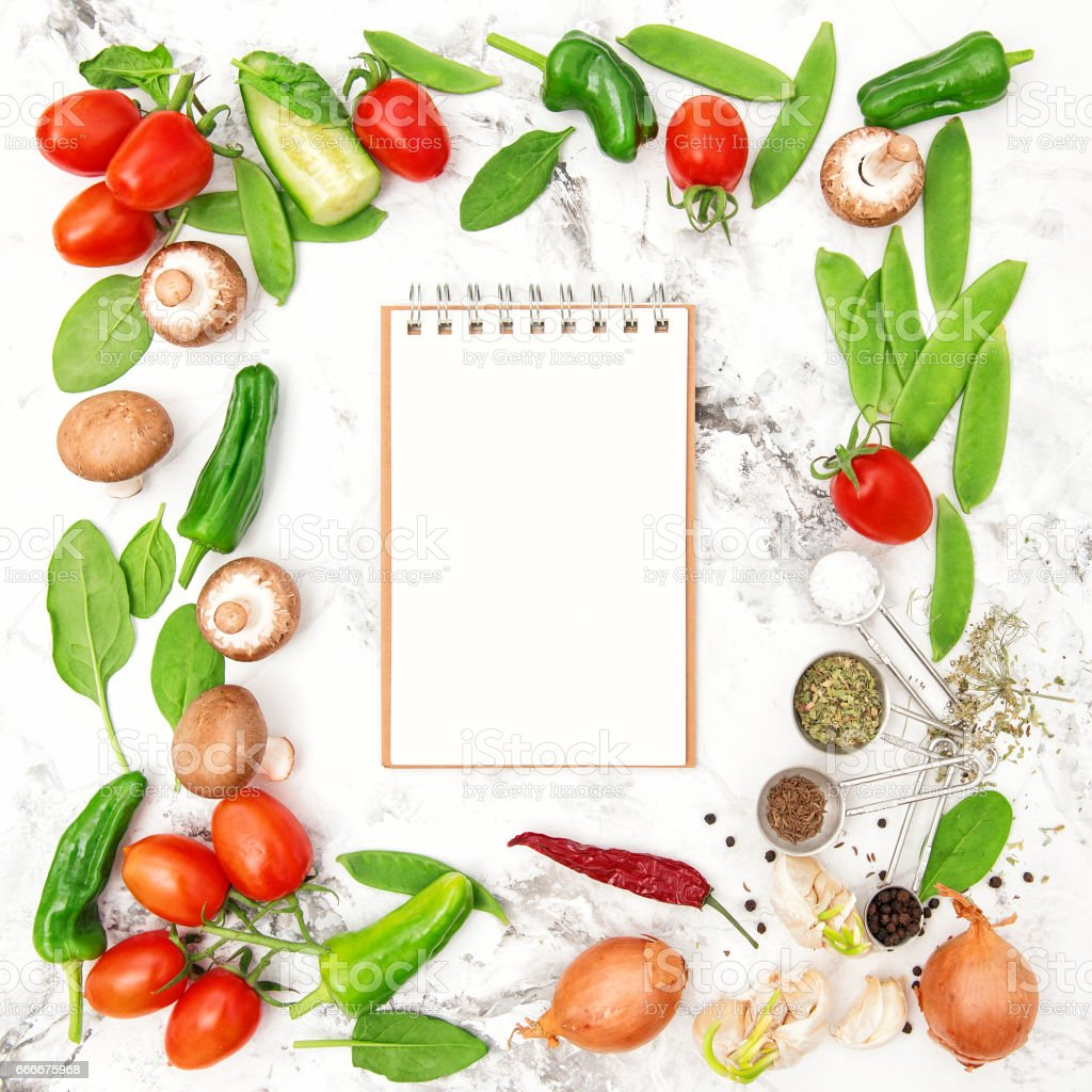 Recipe book fresh vegetables spices Healthy food cooking stock photo