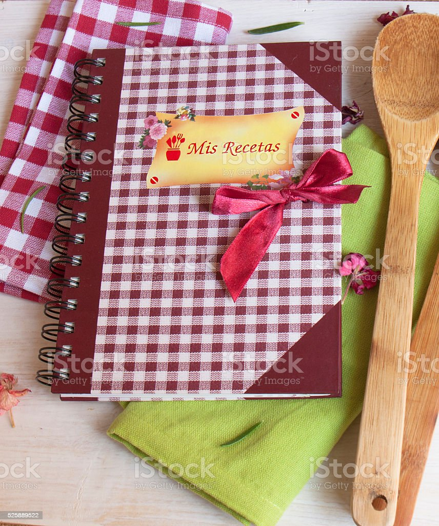 recipe book on wooden table stock photo