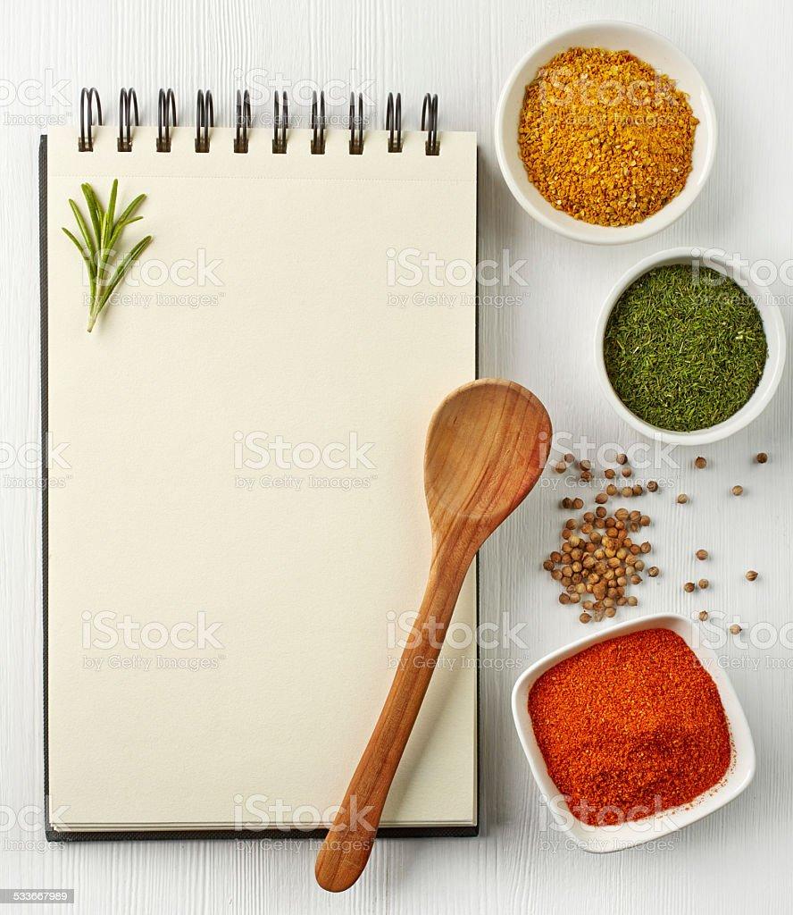 Recipe book stock photo