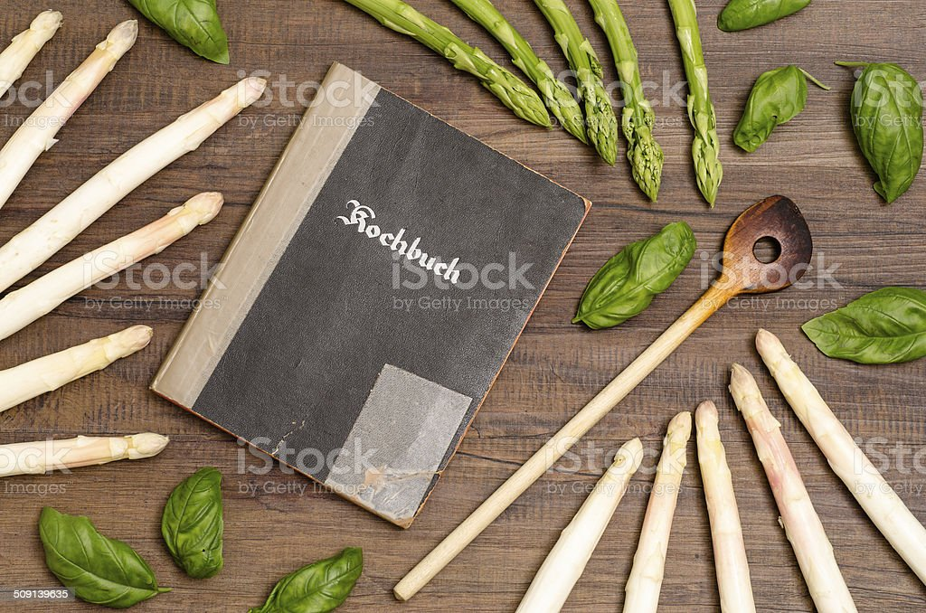 Recipe book with asparagus royalty-free stock photo