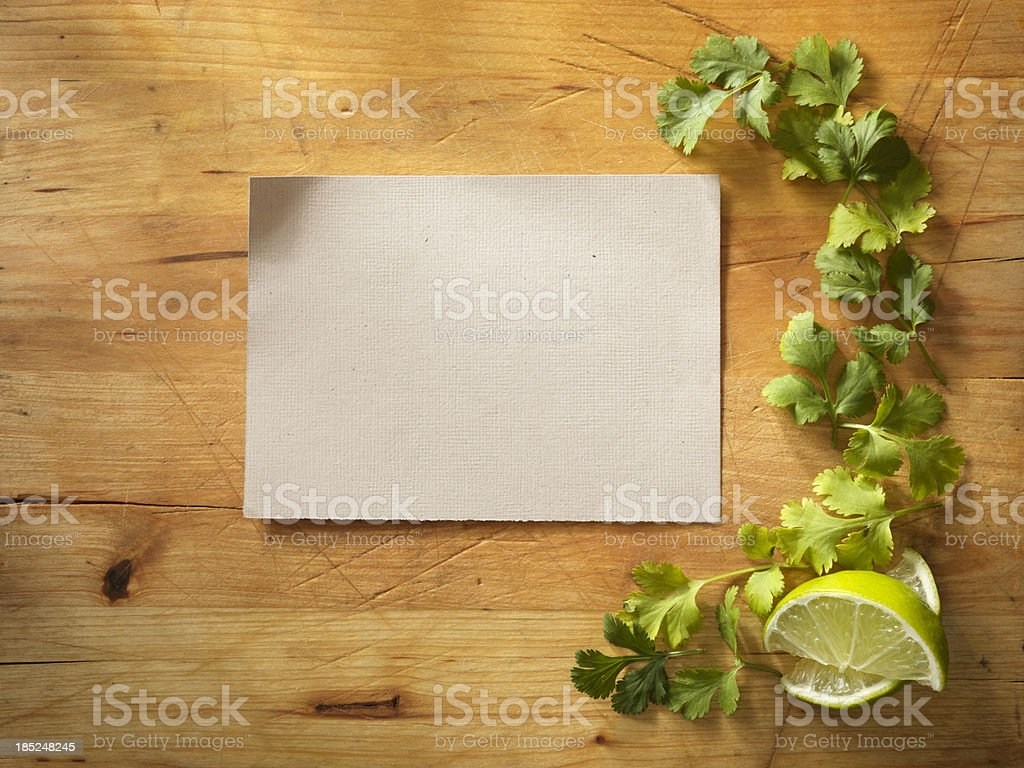 Recipe Card with Fresh Cilantro royalty-free stock photo
