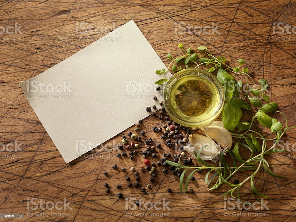 Recipe Card with Fresh Herbs stock photo