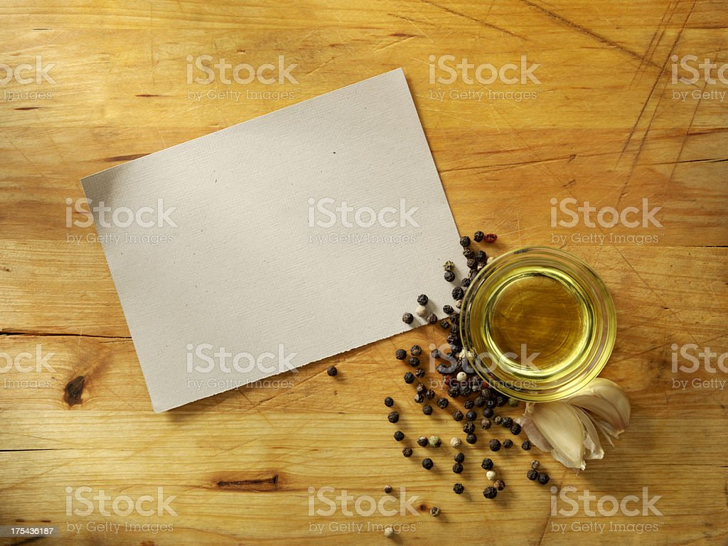 Recipe Card with Olive Oil stock photo