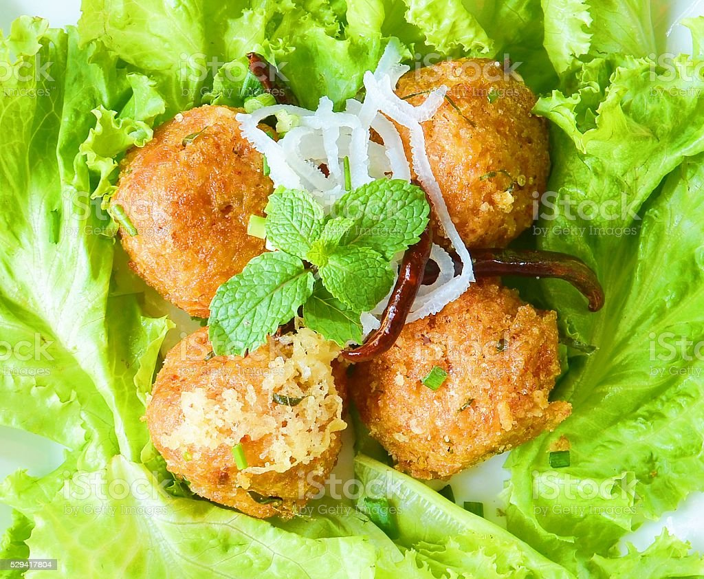 Recipe Spicy Salad of Curried Rice Croquettes stock photo