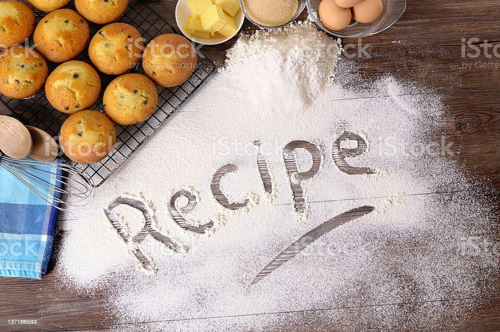 Recipe with muffins and ingredients royalty-free stock photo