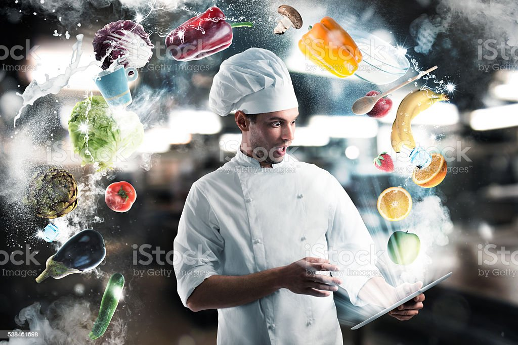 Recipes on the tablet stock photo