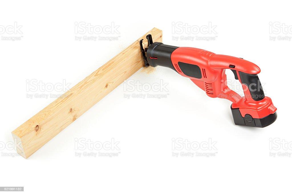 Reciprocating Saw Cutting Through Wood stock photo