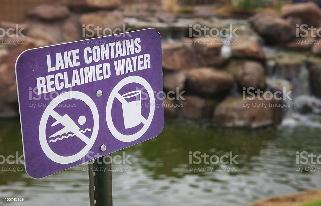 Reclaimed Water Sign stock photo