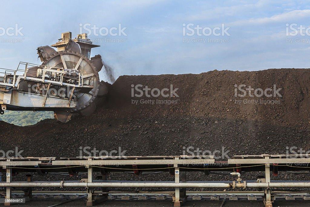 Reclaimer in Stockpile of Coal stock photo