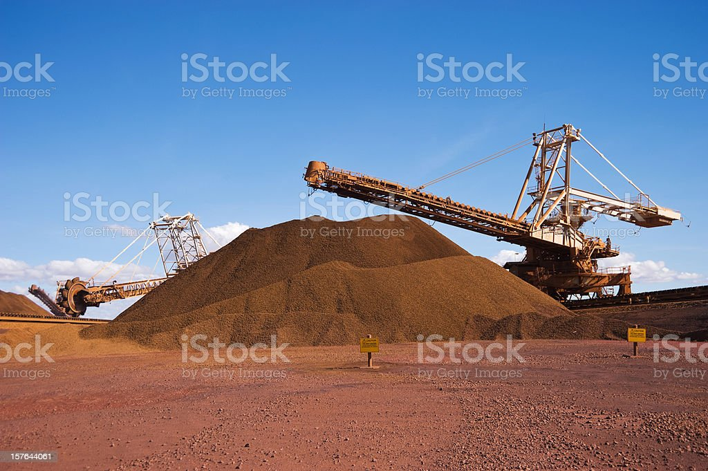 Reclaimer Stacker and Stockpile on Iron Ore Mine Site stock photo